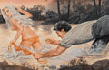 Paintings, Samson Pollen (American, 20th Century). Top Tug-a-War. Gouache on board. 15-1/2 x 22-1/2 inches (39.4 x 57.2 cm) (image)...