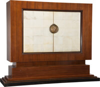 Jean Pascaud (French, 20th century) Cabinet, designed 1938 Wood, parchment, bronze 70-1/4 x 86 x