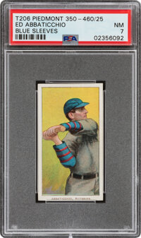 1909-11 T206 Piedmont 350-460/25 Ed Abbaticchio (Blue Sleeves) PSA NM 7 - Pop Three, Only One Higher For This Brand/Seri...