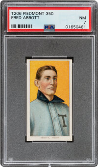 1909-11 T206 Piedmont 350 Fred Abbott PSA NM 7 - Pop Four, None Higher For This Brand & Series