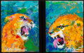 Paintings, LeRoy Neiman (American, 1921-2012). Panther II, 2006-2008. Oil on board laid on Masonite, each . 8-1/8 x 5-7/8 inches (2...