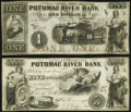 Georgetown, DC- Potomac River Bank $1; $5 Dec. 4, 1854 Very Fine; Extremely Fine. ... (Total: 2 notes)