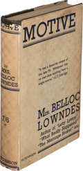 [Marie] Belloc Lowndes. Motive. London: Hutchinson & Co., [n.d., 1938]. First edition. Signe
