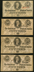 Confederate Notes:1863 Issues, T63 50 Cents 1863 Very Fine;. T72 50 Cents 1864 Three Examples Choice About Uncirculated or Better.. ... (Total: 4 notes)