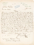 """Autographs:Authors, J. E. Muddock. Autograph Letter Signed """"J. E. Muddock."""" Kent: November 29, 1893. Addressed to William Colles of the Auth..."""
