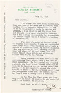 "Autographs:Authors, Christopher Morley Typed Letter Signed ""C.M."" New York: July 22, 1949. In this letter, Morley discusses Sherlock Holmes'..."