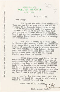 "Christopher Morley Typed Letter Signed ""C.M."" New York: July 22, 1949. In this letter, Morley discusses Sh"
