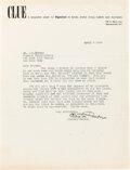 "Autographs:Authors, Clayton Rawson Typed Letter Signed ""Clayton Rawson"" with related letter. New York; April 5, 1948. ..."