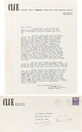 "Autographs:Authors, Clayton Rawson Typed Letter Signed ""Clayton Rawson."" New York: postmarked May 26, 1948. ..."