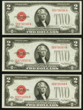 Small Size:Legal Tender Notes, Fr. 1505 $2 1928D Legal Tender Note. Three Consecutive Examples. Gem Crisp Uncirculated.. ... (Total: 3 notes)