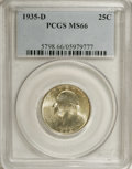 Washington Quarters: , 1935-D 25C MS66 PCGS. Sea-green and straw-gold shades grace thisfully lustrous and highly attractive Premium Gem. Well str...