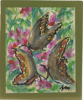 Texas:Early Texas Art - Impressionists, JOSEPHINE MAHAFFEY (American, 1903-1982). Untitled, butterflies.Watercolor and acrylic on paper, mounted on mat board. Sign...