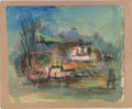 Texas:Early Texas Art - Impressionists, JOSEPHINE MAHAFFEY (American, 1903-1982). Untitled, landscape.Watercolor and crayon on paper, mounted on mat board. Signed ...