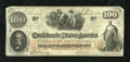 "Confederate Notes:1862 Issues, T41 $100 1862. This embossed Trans-Mississippi example has thescript ""CSA"" watermark and the notation on the back, ""Issued ..."