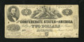 Confederate Notes:1862 Issues, T42 $2 1862. This note has nice edges for the grade. A tiny hole isalso noticed. Fine....