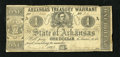 Obsoletes By State:Arkansas, (Little Rock), AR- Treasury Warrant $1 Jan. 12, 1863 Criswell 30a. The upper left corner tip is missing. A small rust hole i...