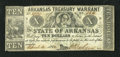 Obsoletes By State:Arkansas, (Little Rock), AR- Treasury Warrant $10 Apr. 4, 1862 Criswell 58. A little handling and pinholes define this note. The lower...
