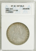 Early Half Dollars: , 1803 50C Small-3--Cleaned--ANACS. XF45 Details. O-104 NGC Census:(52/53). PCGS Population (27/42). Mintage: 188,234. Numis...