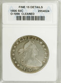 Early Half Dollars: , 1806 50C Pointed 6, Stem--Cleaned--ANACS. Fine 15 Details. O-109A.NGC Census: (66/1185). PCGS Population (51/612). Mintage...