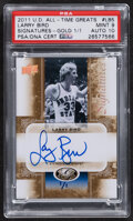 Basketball Cards:Singles (1980-Now), 2011 UD All-Time Greats Signatures Gold Larry Bird Autograph #AGS-LB5 PSA Mint 9, Auto 10 - One of One!...