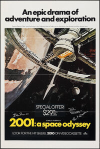 """2001: A Space Odyssey (MGM, 1984). Folded, Very Fine+. Autographed Video One Sheet (27"""" X 41"""") Robert McCall A..."""
