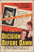 "Movie Posters:War, Decision Before Dawn (20th Century Fox, 1951). Folded, Fine-. One Sheet (27"" X 41""). War.. ..."