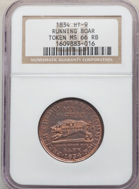 1834 Token Running Boar, Low-8, HT-9, DeWitt-CE-1834-9, R.1, MS66 Red and Brown NGC. Census: 4 in 66 Red and brown, 3 fi...