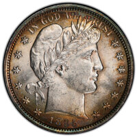 1895 50C MS62 PCGS. PCGS Population: (34/107 and 0/6+). NGC Census: (30/66 and 1/0+). CDN: $600 Whsle. Bid for NGC/PCGS...