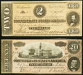Confederate Notes:1864 Issues, T67 $20 1864 Crisp Uncirculated;. T70 $2 1864 Choice About Uncirculated.. ... (Total: 2 notes)