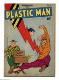 Golden Age (1938-1955):Superhero, Plastic Man #7 (Quality, 1947) Condition: VG. Jack Cole cover and art. There are creases on the front cover that don't break...
