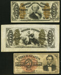 Fractional Currency:Third Issue, Fr. 1339 50¢ Third Issue Spinner Type II Very Fine;. Fr. 1343SP 50¢ Third Issue Justice Wide Margin Face Very Fine-Extreme... (Total: 3 notes)