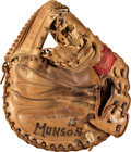 Baseball Collectibles:Others, Early 1970's Thurman Munson Rookie-Era Game Worn Catcher's Mitt--Photo Matched!...