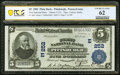 National Bank Notes:Pennsylvania, Pittsburgh, PA - $5 1902 Plain Back Fr. 606 The First National Bank Ch. # (E)252 PCGS New 62.. ...