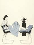 Pin-Up and Glamour Art, Patrick Nagel (American, 1945-1984). Untitled (woman with two chairs), Designer Furniture advertisement. Acrylic on boar...