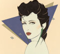 Pin-Up and Glamour Art, Patrick Nagel (American, 1945-1984). Untitled, Cosmetic advertisement. Acrylic on board. 20 x 23-1/2 inches (50.8 x 59.7...