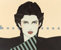 Pin-Up and Glamour Art, Patrick Nagel (American, 1945-1984). Untitled, Cosmetic advertisement. Acrylic on board. 20 x 21 inches (50.8 x 53.3 cm)...