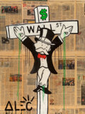 Paintings, Alec Monopoly (b. 1986). Wall Street Crucifix, early 21st century. Acrylic, spray paint, and collage on canvas with resi...