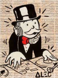 Alec Monopoly (b. 1986) DJ Monopoly, 2011 Acrylic, spray paint, and collage on canvas with resin