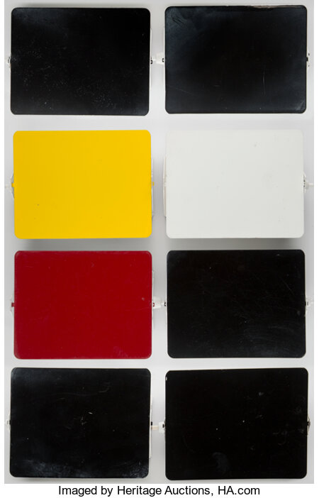 Charlotte Perriand (French, 1903-1999) Eight Wall Lights, designed circa 1965 Enameled steel, plastic 6-3/8 x 5 x 3 i... (Total: 8 Items)