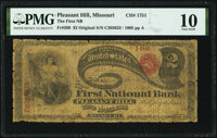 Pleasant Hill, MO - $2 Original Fr. 389 The First National Bank Ch. # 1751 PMG Very Good 10