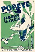 """Movie Posters:Animation, Popeye in """"Females is Fickle"""" (Paramount, 1940). Very Fine- on Linen. One Sheet (27.5"""" X 41""""). . ..."""