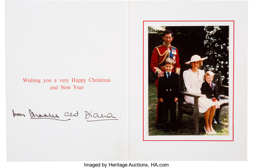 prince charles and princess diana christmas card signed lot 47192 heritage auctions 2