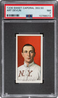 Baseball Cards:Singles (Pre-1930), 1909-11 T206 Sweet Caporal 350/30 Art Devlin PSA NM 7 - Pop One, None Higher With This Brand/Series/Factory Combination. ...