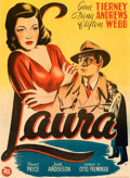 """Movie Posters:Film Noir, Laura (20th Century Fox, 1944). Very Fine on Linen. First Post-War Release Danish Poster (24.5"""" X 33.5"""") Willy Artwork.. ..."""