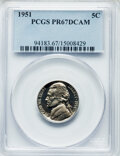 Proof Jefferson Nickels, 1951 5C PR67 Deep Cameo PCGS. PCGS Population: (8/6). NGC Census: (5/9). PR67. . From The Maltese Collection. ...