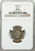 1868 5C Five Cent, Judd-623, Pollock-692, Low R.6, PR64 NGC. NGC Census: (5/2). PCGS Population: (8/0). From The Mal...(...
