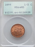 Half Cents: , 1855 1/2 C MS64 Red PCGS. PCGS Population: (182/39). CDN: $1,050 Whsle. Bid for NGC/PCGS MS64. Mintage 5...
