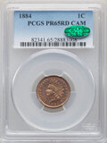 Proof Indian Cents, 1884 1C PR65 Red Cameo PCGS. CAC. PCGS Population: (2/4). NGC Census: (0/2). . From The Maltese Collection. ...