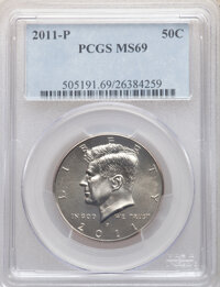 2011-P 50C MS69 PCGS. PCGS Population: (4/0). NGC Census: (0/0). CDN: $1,000 Whsle. Bid for NGC/PCGS MS69. From The M...