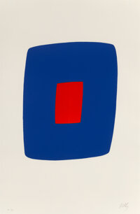 Ellsworth Kelly (1923-2015) Dark Blue with Red (Bleu foncé avec rouge), 1964–1965 Lithograph in colo